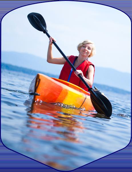 woman kayaks in door county